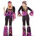 Para mujer libres del envío 60 S 70 S Retro Hippie Go Go Girl discoteca Party Costume gallinas Fancy Dress sml XL 2XL
