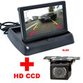 2 in 1 Auto Parking Assistance 4.3 inch Color LCD Car Video Foldable Monitor Camera + 9LED Night Vision Car CCD Rear View Camera
