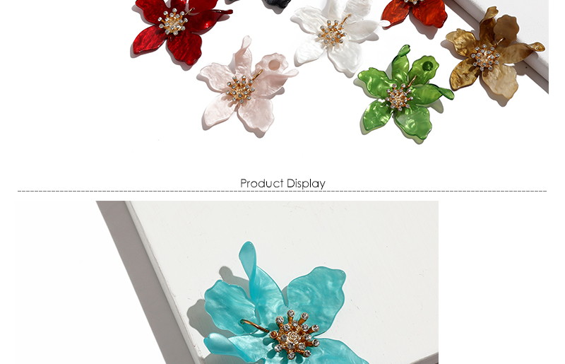 Fashion Big Stud Earrings For Women Wedding Party Bohemian Acrylic White Flower Earrings Statement Boho Jewelry Gifts (3)