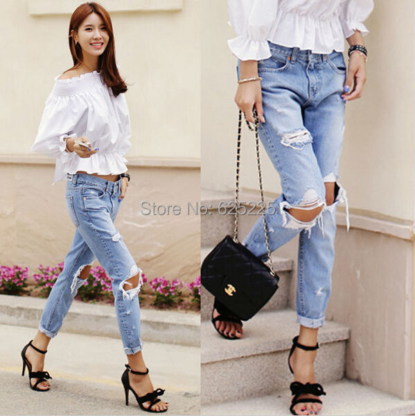 6610ddff4b7 Pinup 2015 Spring Summer New Korean Style Fashion Denim Jeans Women Loose  Low Waist Big Hole Ripped Jeans Long Pencil Pant