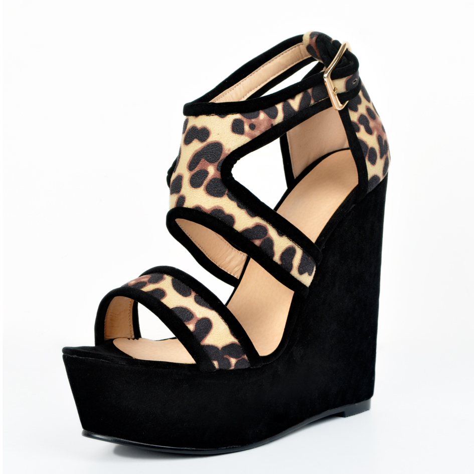 ФОТО New Sexy Women Sandals Nice Platform Peep Toe Wedges Sandals Fashion Leopard Shoes Woman Plus US Size 4-15