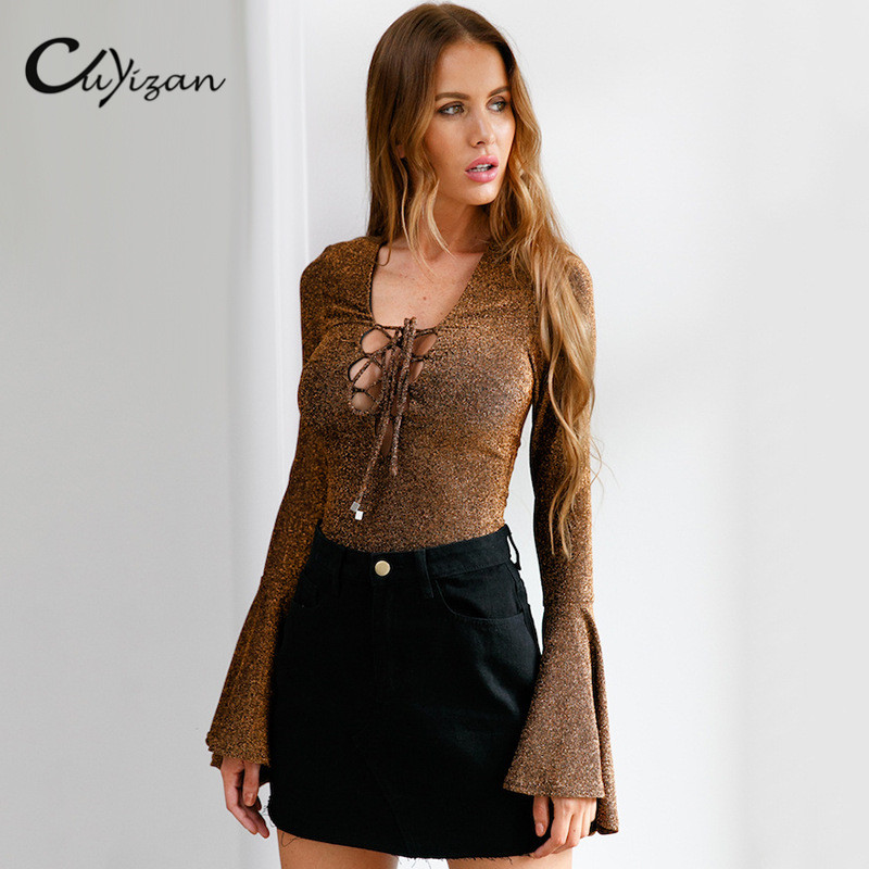 Cuyizan New Sexy Women Bodysuit Autumn Lace up V neck rompers women jumpsuit casual bodycon playsuit Overalls Mujer Club Wear