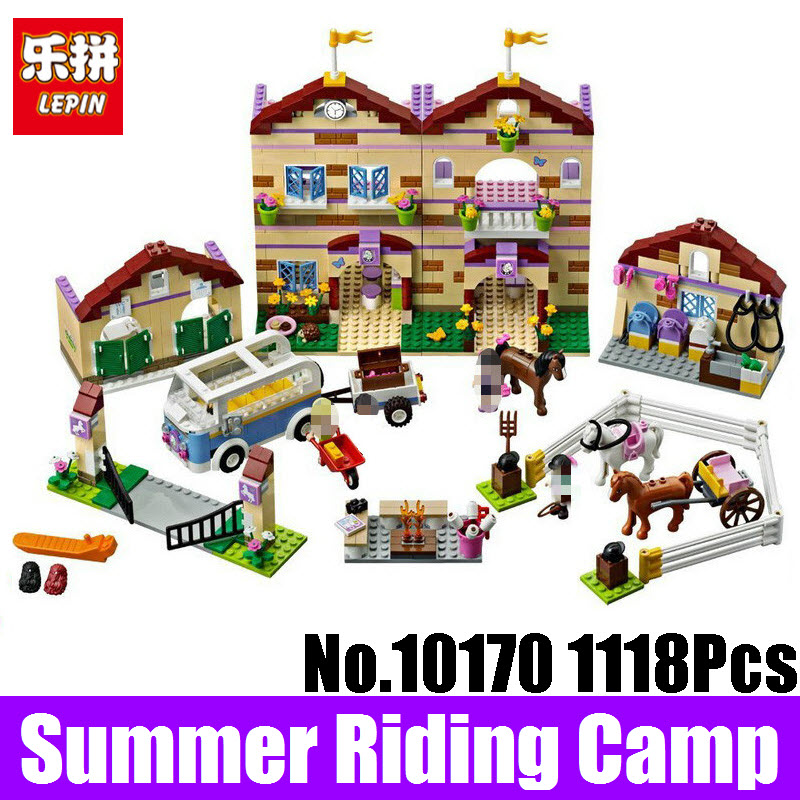 Lepin Girls Friends 10170 Series Summer Riding Camp Model Building Blocks Bricks Toys For Children Birthday Gift Compatible 3185 lepin 02070 492pcs city series coast guard model building blocks bricks toys for children gift