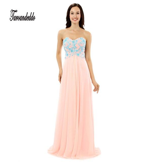 66c139dc206e6d Strapless Blauw Kant Applique met Kristallen Rijk Taille Prom Jurk Roze  Lange Lange Jurken vestido de