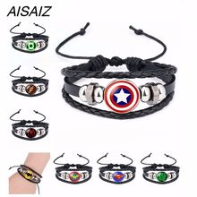 New Aisaiz America Super Hero Superheroes Batman Spider-Man Iron Man Superman Logo Leather Bracelet Boys Glass Cabochon Bracelet(China)