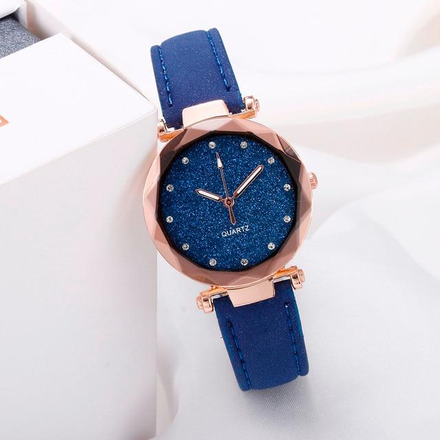Ladies Minimalist fashion Casual Romantic Starry Sky Wrist Watch Leather Rhinestone Ladies Strap Watch Souvenir Birthday Gifts 2
