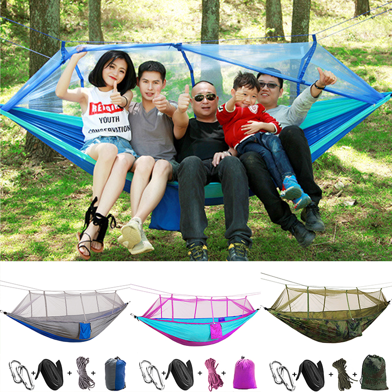 Tent Hammock Practical Durable Mosquito Net Parachute Hammock Nylon Camping Hanging Sleeping Bed Swing Portable Double Chair