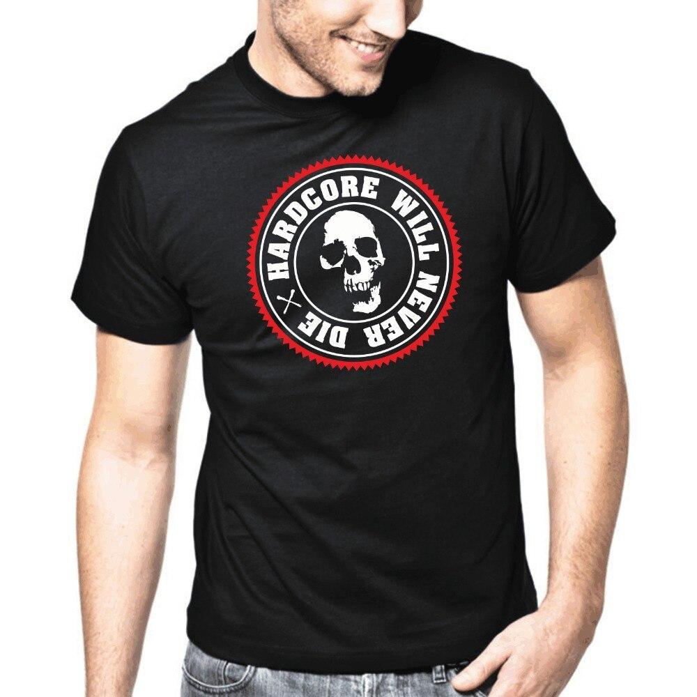 2019 mode haute qualité marque de drôle hommes T-Shirt hommes vêtements grande taille Hardcore ne mourra jamais Hardstyle DJ Totenkopf crâne