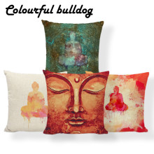 Chakra Buddha Cushion Covers Mandala Lotus Pillow Cases Yellow European Bed Decor Home Throw Pillows Large Cotton Blend Photo(China)