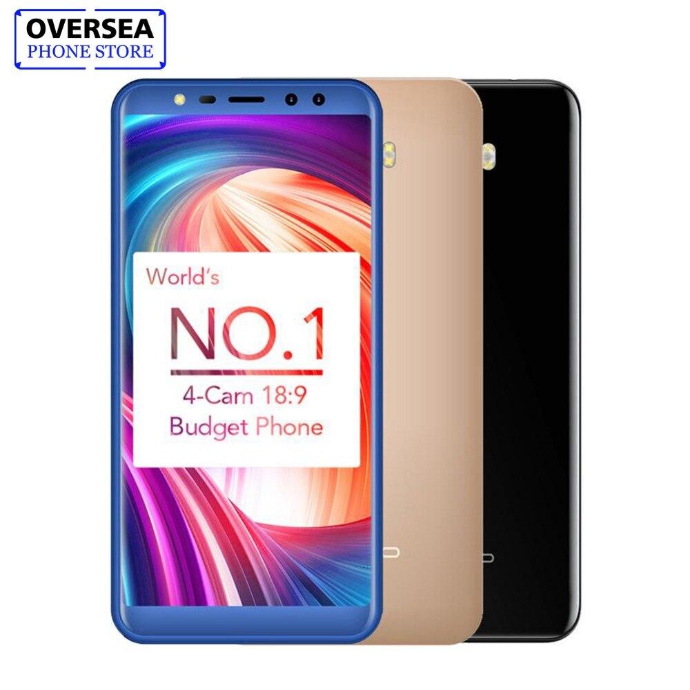 Leagoo M9 18:9 Plein Écran Quatre-Cames Android 7.0 MT6580A 5.5 Quad Core 2 gb RAM 16 gb ROM 8.0MP D'empreintes Digitales 3g WCDMA Mobile Téléphone
