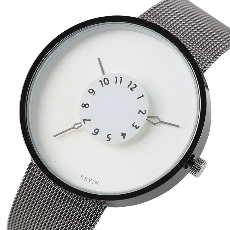 Минималистский кварцевые часы из нержавеющей стали Mesh Watchband Черный Белый циферблат наручные часы для женщин Мужчины Лучший подарок Montre-браслет