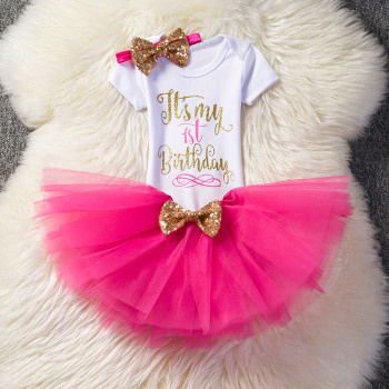 1 Year Baby Girl Birthday Dress Kids Baby Clothes Gold Bow 6 Months 1st 2nd Birthday Christening Dresses For Girls Party Wear Dresses