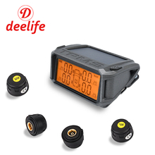 hot deal buy deelife car tpms tire pressure monitoring system solar power charging digital lcd display auto security alarm systems wireless