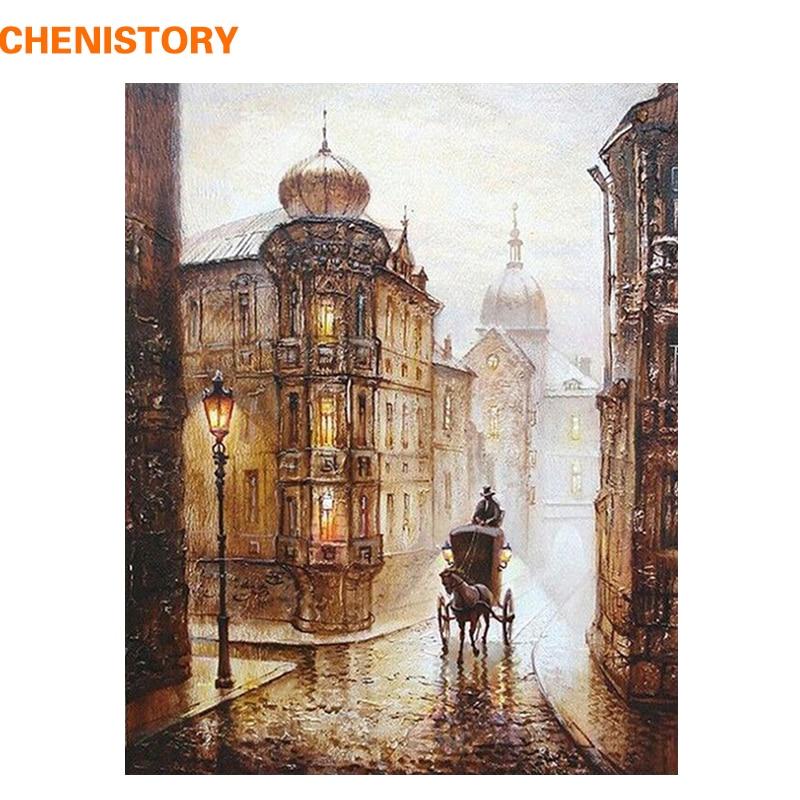 CHENISTORY Vintage Europe Street DIY Malování podle čísel Kit Barvení Malba podle čísel Akrylová malba na plátně pro domácí dekor