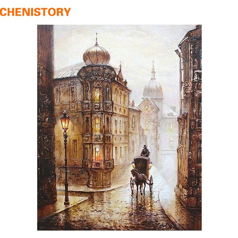 CHENISTORY Vintage Europe Street DIY Painting By Numbers Kit Coloring Painting By Numbers Acrylic Paint On Canvas For Home Decor