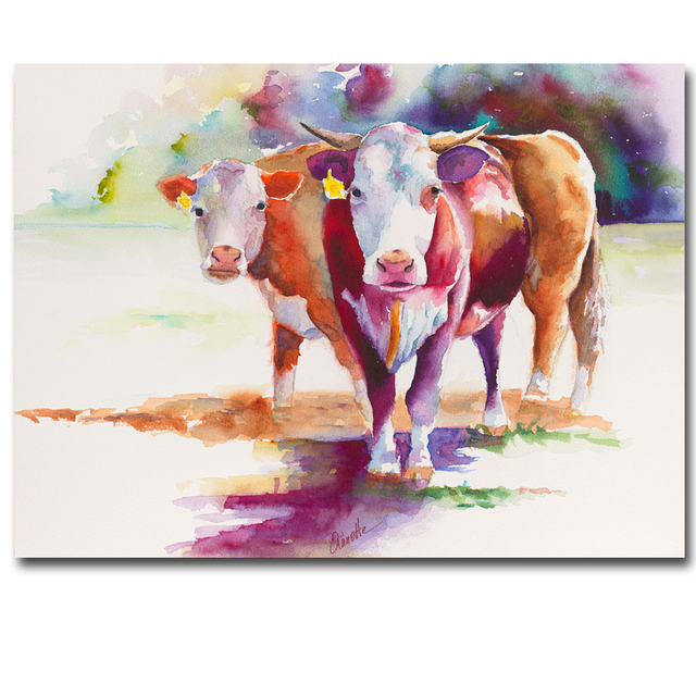 hereford bovins aquarelle peinture artiste abstrait animal vache imprim peinture l 39 huile pop. Black Bedroom Furniture Sets. Home Design Ideas