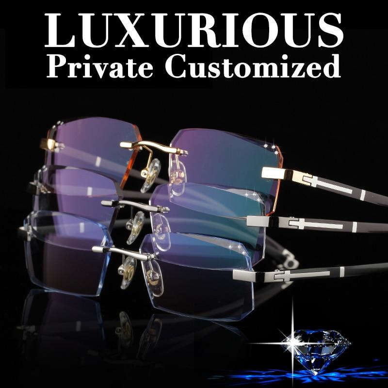 Famoso diseñador sin montura gafas marco hombres Rhinestone anteojos lente transparente antirreflectante recubierto anteojos recetados gafas 641