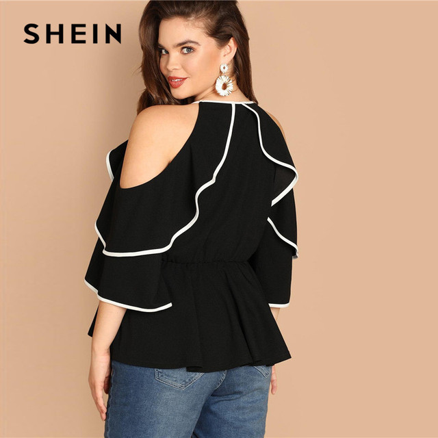 SHEIN Plus Size Sexy Cold Shoulder Butterfly Sleeve Women Black Ruffle Blouse 2019 Casual Spring Three Quarter Sleeve Top Blouse 1