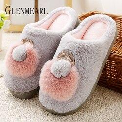Women Slippers Winter Warm Soft Home Indoor Slippers Shoes For Female Slip On Cartoon Flats Plus Size Women Slipper Shoe DE
