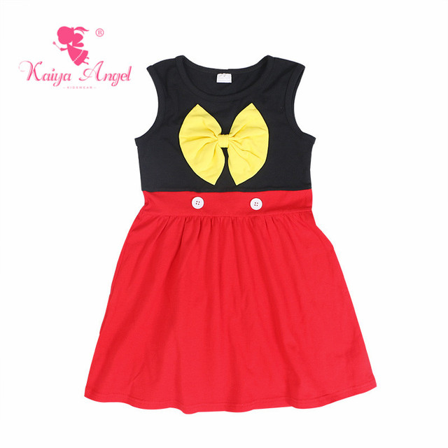 e2efa064edbf Kaiya Angel Hot Toddler Girl Black Red Cotton Princess Dress Yellow Bow  Birthday Wedding Party Boutique Summer Kids Clothes