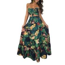 Bohemian off-the-shoulder sexy dress, summer floral pattern tube top dress tropical beach retro dress casual Vestidos women's l недорого