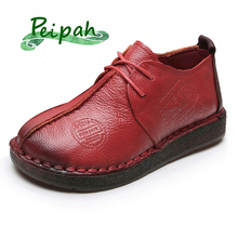 PEIPAH Classic Women Genuine Leather Oxfords Shoes Casual Lace Up Spring Ladies Flats Shoes Retro Flat Shoe Woman Tenis Feminino instantarts women s flats casual leather shoes for women breathable ladies lace up sunflower oxfords butterfly floral flats shoe