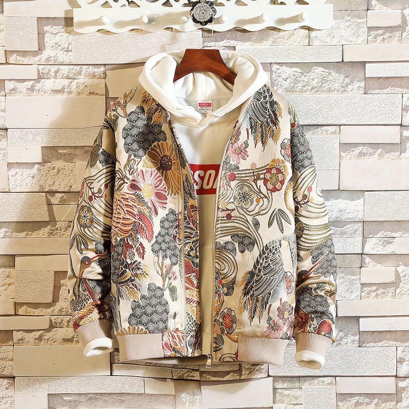 Privathinker 2018 Mens Jackets Man Vintage Floral Embroidery Basic Cotton Coat Male Korean Style Autumn Streetwear Winterbreaker