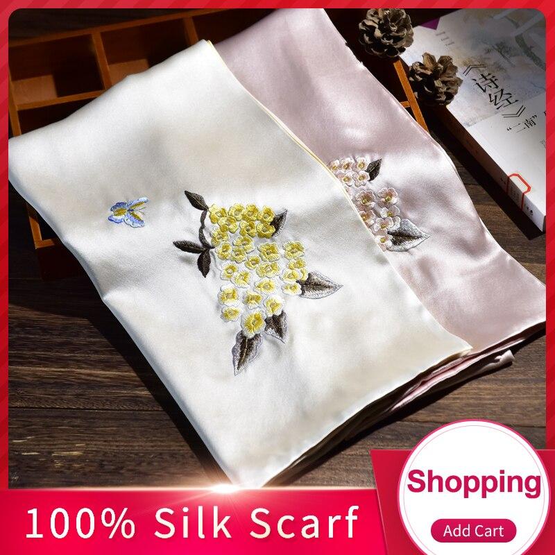 2019 Hangzhou 100% Seda Pura Cachecol Luxo 16mm de Seda Bordados Feitos À Mão Xales e Wraps para Mulheres Natural Real Silk lenços