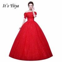 Flowers Boat Neck Sequins Short Sleeves Wedding Dresses Cheap Red White Bride Frocks Custom Made Vestidos