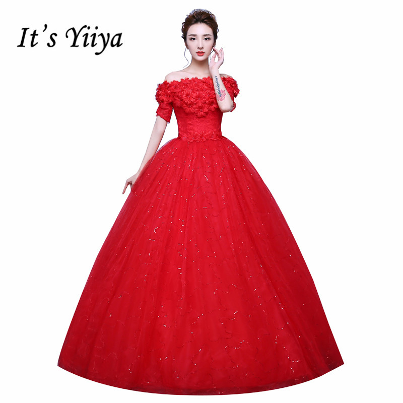 Red And White Wedding Dresses With Sleeves: Flowers Boat Neck Sequins Short Sleeves Wedding Dresses