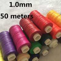 JH002 1.0mm 50 meters Long Flat Waxed Thread Waxed String for Leather Sewing