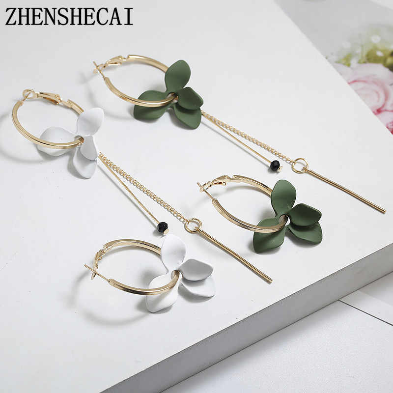 2018 Hot Sale Handmade Long Earrings white green flower irregular Round Circle Strip Drop Earrings For Women fashion Jewelry