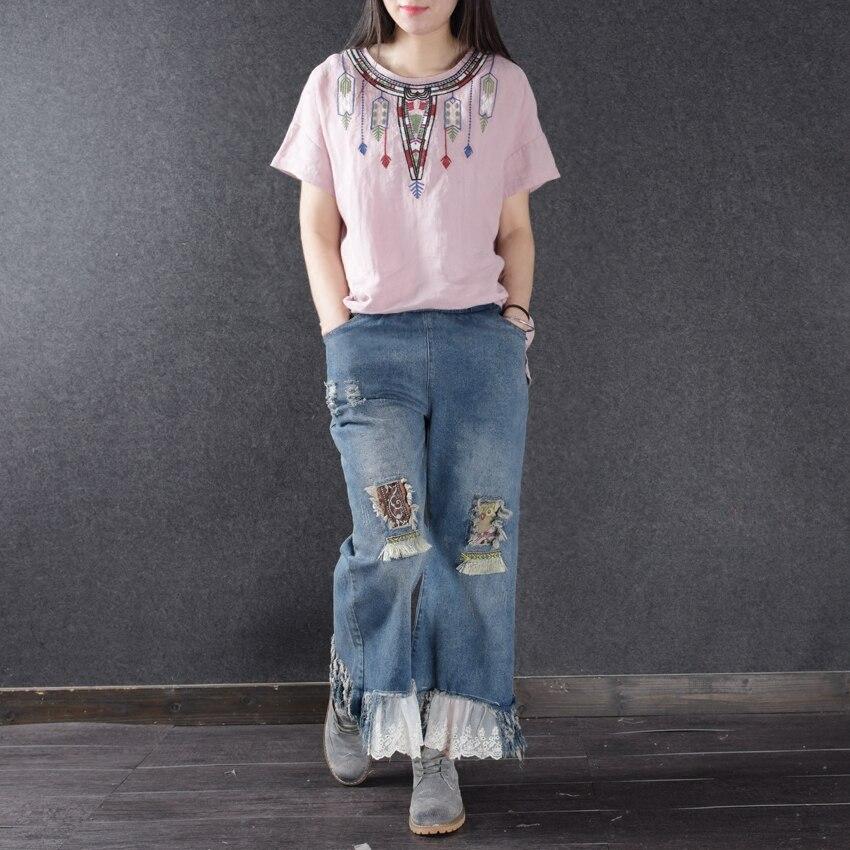 ФОТО Women Lace Patchwrok Ripped Wide Leg Denim Pants 2017 Casual Elastic Waist Fashion Tassel Loose Jeans