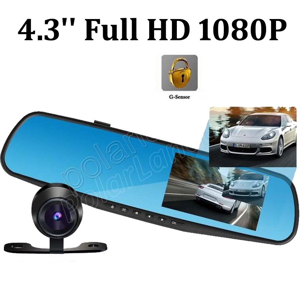 dual lens Rearview Mirror Car DVR 4.3 Inch Full HD 1080P dash Camera Night Vision G-Sens ...
