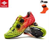 Santic Erkekler Yol bisikleti Ayakkabı Ultralight Karbon Fiber Oto-kilitleme Atletik Yarış Ekibi Bisiklet Ayakkabı Bisiklet Giysiler MS17007