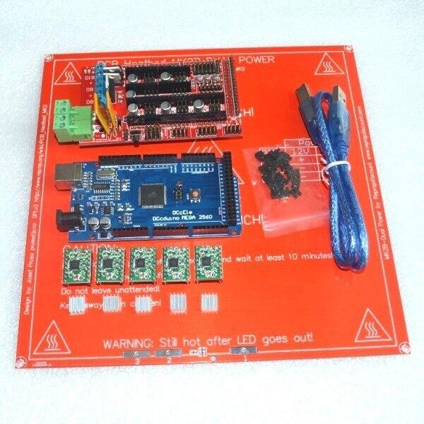 1 sztuk heatbed + 1 sztuk Mega 2560 R3 + 1 sztuk RAMPS 1.4 kontroler + 5 sztuk A4988 moduł napędu krokowego dla zestaw do drukarki 3D Reprap