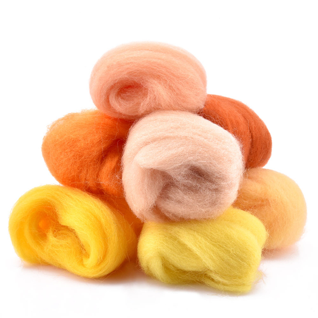 7/24/36/50 Colors Wool Felt Craft Kit Needle Felting Starter Fabric Yarn Roving DIY Spinning Sewing Mold Needlework Accessories 4
