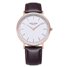 2018 KRYLOVA Brand Leather Watch Luxury Classic Wrist Watch Fashion Casual Simple Quartz Wristwatch Clock Women Watches цены