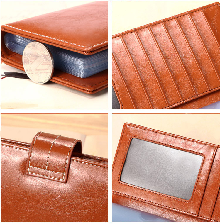 Women Men Leather Business Card Holder Credit Pocket 56 Clips Pack ...