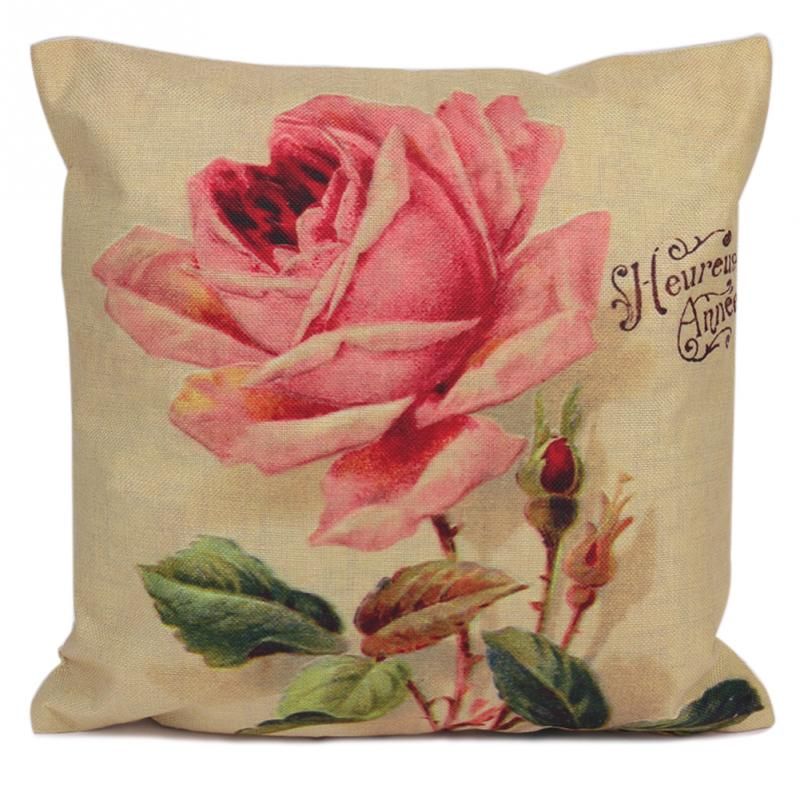 cotton fresh pink flowers cushion without core car seat roses decorative pillows office cushions chair seat - Pink Decorative Pillows