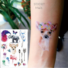 W18 1 Piece Crown Deer, Watercolor Elephant ,Jellyfish , Flamingo And Dandelion Beautiful Non-toxic Temporary Tattoo