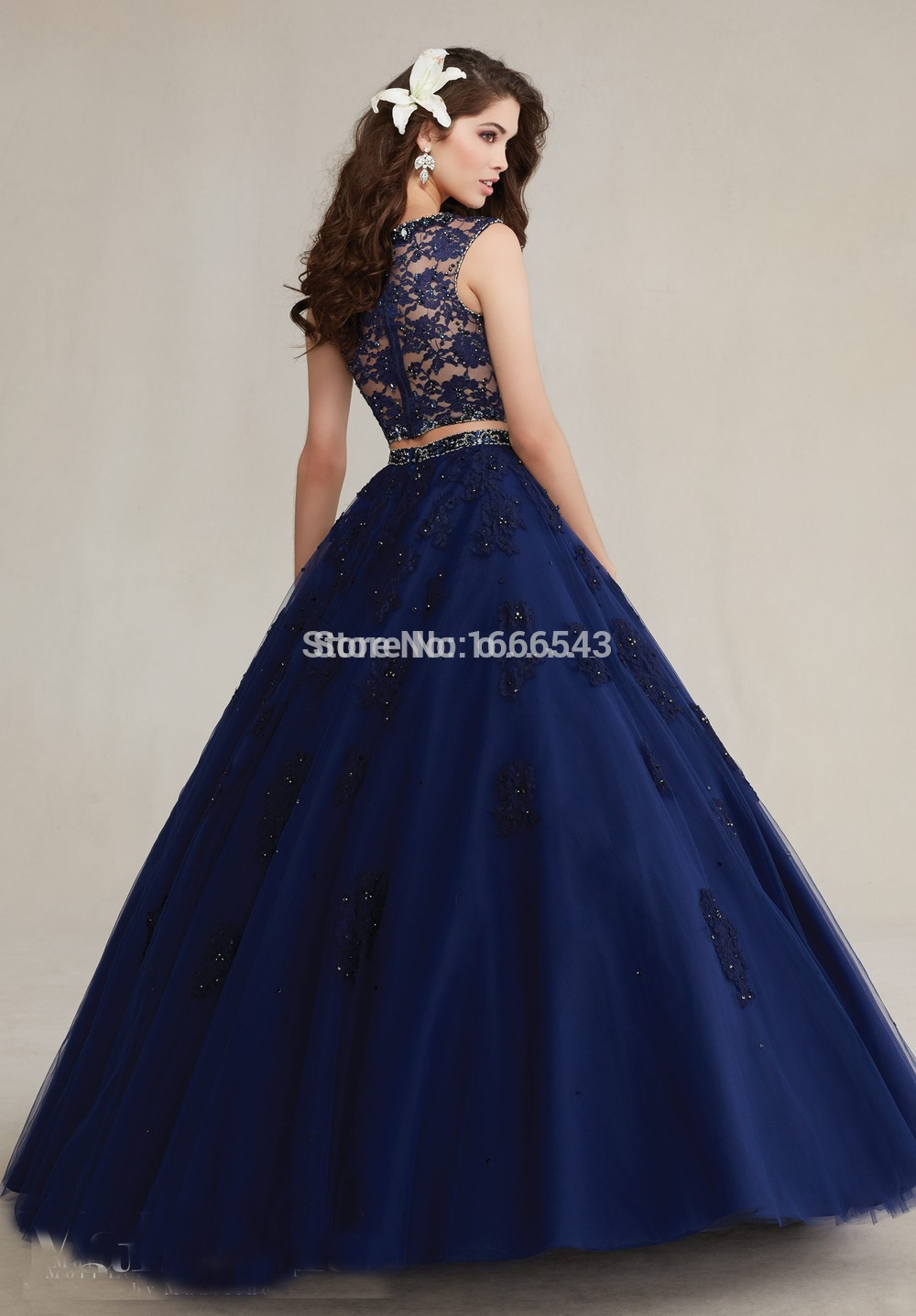 Beaded Lace Appliques Prom Dress Navy Blue Sweet 16 Dress 2 Piece ...