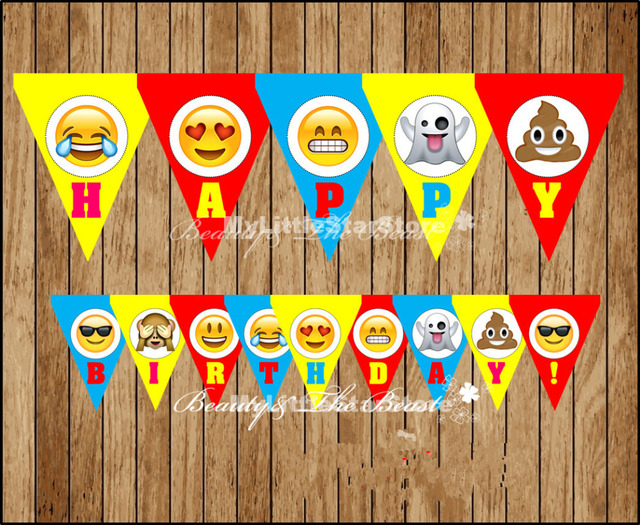 Emoji Banner Baby Shower Birthday Party Decorations Kids Event Supplies Flags Candy Bar Smile