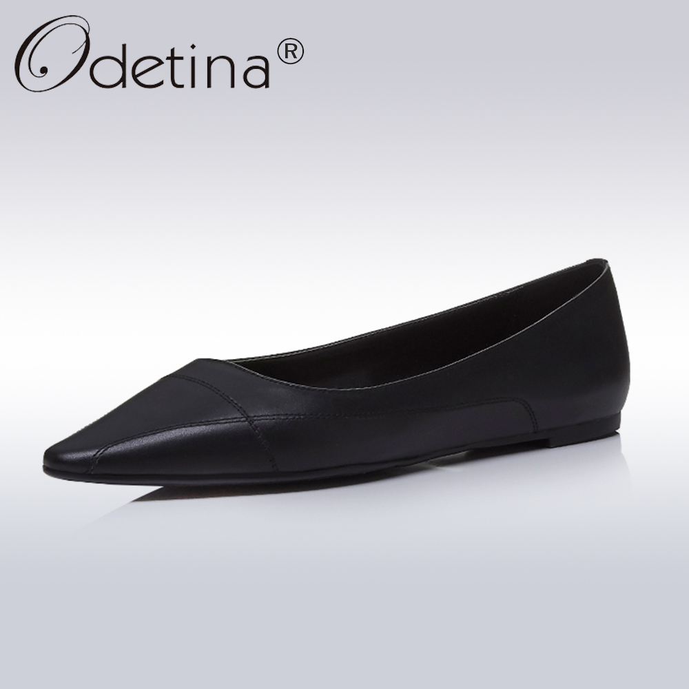 Odetina 2018 New Fashion Lady Spring Genuine Leather Flats Casual Pointed Toe Shoes Female Sewing Slip On Flat Shoes Big Size 41 pu pointed toe flats with eyelet strap