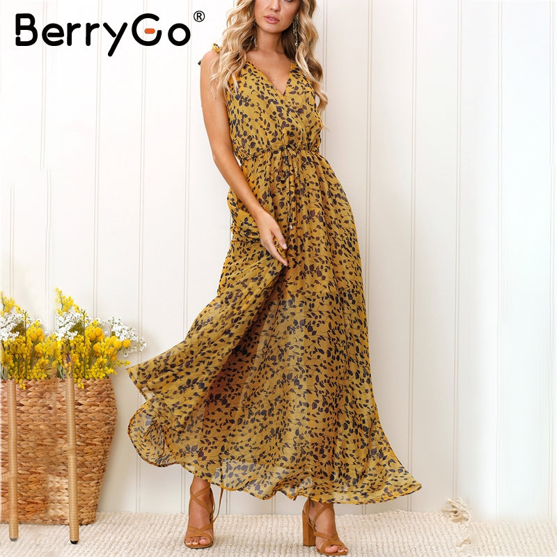 BerryGo Boho print beach summer dress Women sexy v neck high waist chiffon long dress 2018 Streetwear maxi dress female vestidos