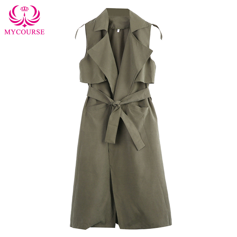 MYCOURSE Women Lapel Sleeveless Pockets Vest Long Jacket Fashion Office Elegant Jackets Vests Sleeveless Army Green Outerwear