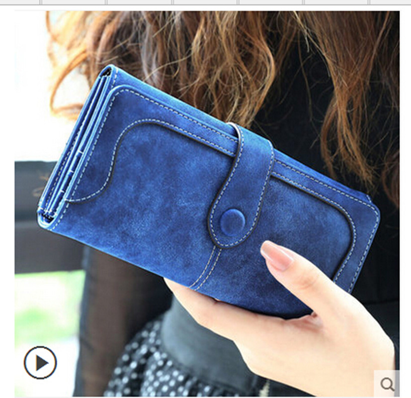 2019 Mote Retro Matte Stitching Lær Wallet Women Long Purse Clutch Kvinner Casual Hasp Dollar Pris Lommebok Håndveske Carteira