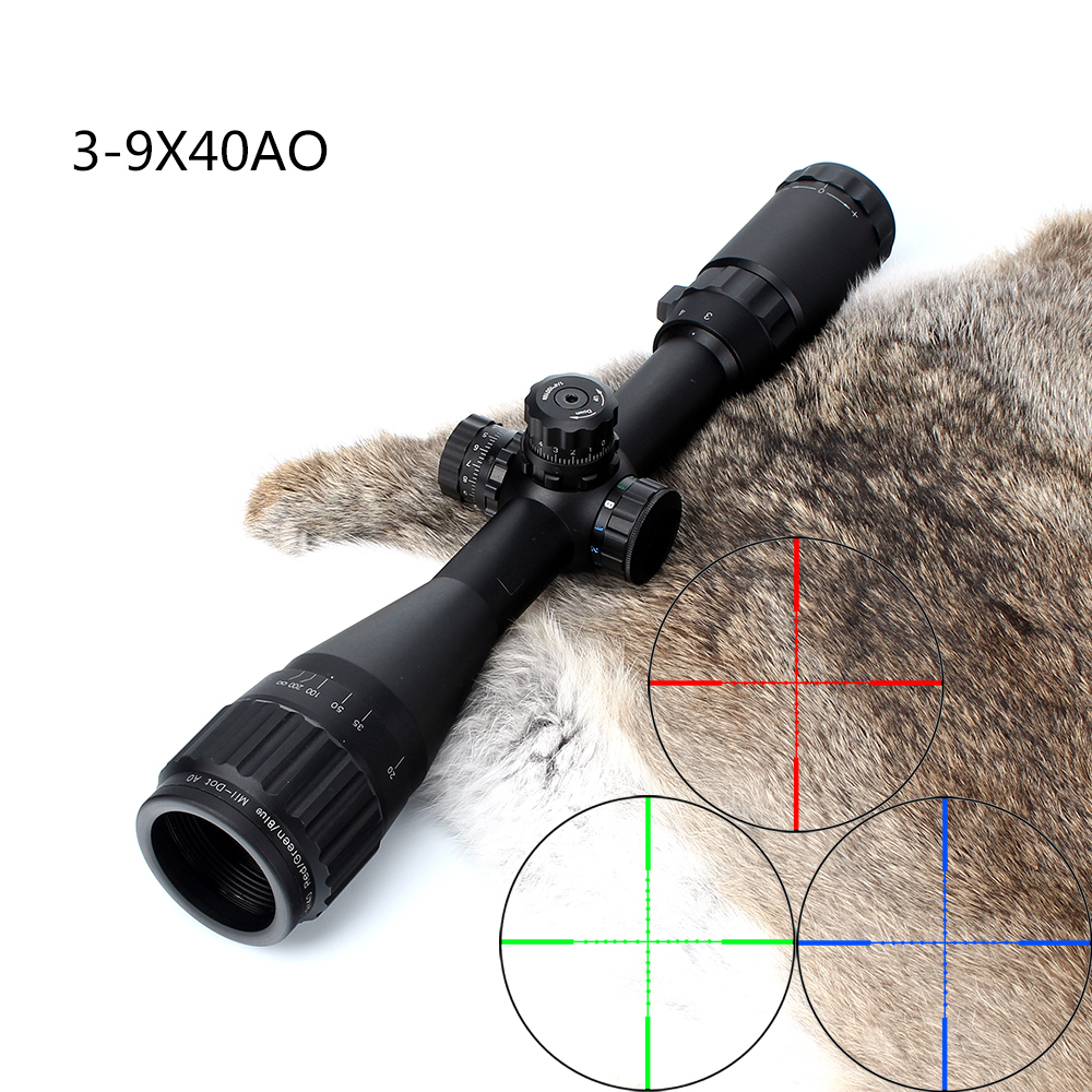 Hunting 3-9X40 AO Riflescope Tactical Optical Sight Full Size Mil Dot Red Green Blue llluminate Reticle Turrets Lock Rifle Scope 3 10x42 red laser m9b tactical rifle scope red green mil dot reticle with side mounted red laser guaranteed 100%