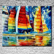 HOT-NO Frame Hand-painted Abstract Manual Oil Painting Colourful Sailing Boat Canvas Art Home Decoration