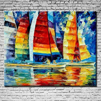 HOT NO Frame Hand Painted Abstract Manual Oil Painting Colourful Sailing Boat Canvas Art Home Decoration